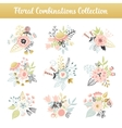 Floral combinations hand drawn vintage set vector image