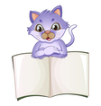 A cat opening the empty book vector image
