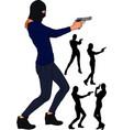 balaclava gun girl vector image vector image