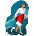 bible story jesus walking on water colored vector image vector image