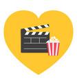 big open clapper board popcorn heart shape i love vector image vector image