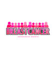 breast cancer banner text vector image vector image