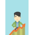 Businessman with growing chart vector image vector image