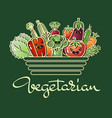 cartoon style vegetables and handwritten word vector image