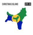 christmas island map border with flag eps10 vector image