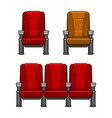cinema red chairs set vector image