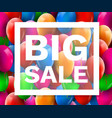 colorful balloons discount frame sale concept for vector image