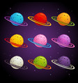 colorful fantasy planets set vector image vector image