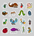 cute insects and bugs stickers set vector image vector image