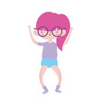cute little girl happy with glasses cartoon vector image vector image