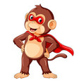 cute monkey cartoon wearing superhero costume vector image vector image