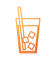 drink in glass with ice straw beverage cold vector image vector image