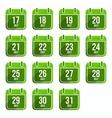 flat calendar icons days year set 20 vector image