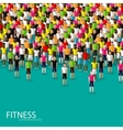 flat of a large crowd of men fitness community vector image