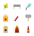 frying meat icons set flat style vector image