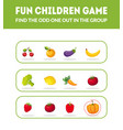 fun children game find odd one out in the vector image vector image
