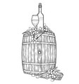 graphic glass of wine bottle and grapes on the vector image vector image