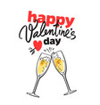 happy valentine s day card with handwritten vector image vector image