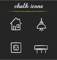Home interior chalk icons set vector image vector image