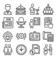 job and headhunting icons set on white background vector image vector image