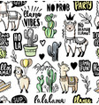 llama alpaca cactuses and leaves seamless vector image