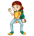 Man carrying a backpack vector image