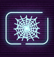 neon spider sign arachnid logo on the wall vector image vector image