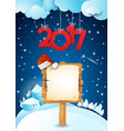 new year with text and sign on snowy background vector image