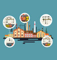 old factory with chimney stacks industrial flat vector image vector image