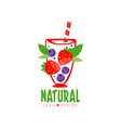 original logo for fresh beverage glass of sweet vector image