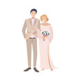 pair of bride and groom standing together young vector image