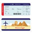 plane ticket to egypt - tourism destination travel vector image