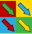 Pop art arrow icons vector image vector image