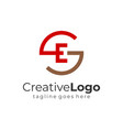 red brown abstract circular initial letter g and e vector image vector image