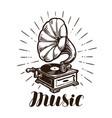 retro gramophone music concept vintage sketch vector image vector image