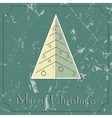 retro-vintage Christmas tree beige and green card vector image vector image