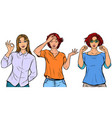 set collection gestures beautiful women vector image