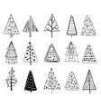 set doodle christmas trees vector image
