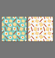 set fried eggs seamless patterns vector image