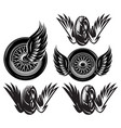 set monochrome pattern with wheel wings on a vector image vector image