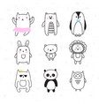 set of cute hand drawn animals doodle collection vector image