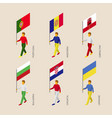 set of isometric 3d people with flags of european vector image vector image