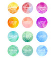 set of round banners with watercolor background vector image