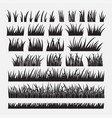 set of silhouette of grass vector image