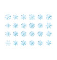 set of snowflakes blue flake of snow gradient vector image