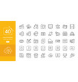 simple set multimedia related line icons vector image
