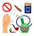 smoking tobacco icons set vector image vector image
