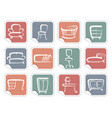 stickers with furniture images vector image vector image