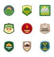 summer camp logo emblem set flat style vector image vector image