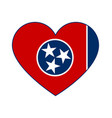 tennessee tn state flag in heart shape symbol vector image